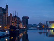 Evening at old Gdansk. Evening scene of quay of Motlawa, Gdansk, Poland Stock Photography