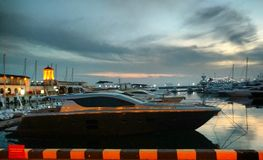 Boats and yachts in the sea port in Sochi. stock photo