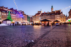 Evening at Old Town Market Square in Warsaw Stock Photography
