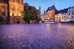 Evening at Old Town Square in Torun stock image