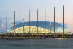 Evening in the Olympic Park. Sochi, Olympic Park. Ice Palace Bolshoy in the evening light Stock Photos