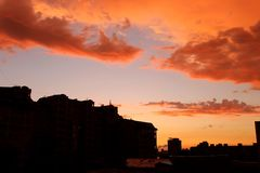 Evening Omsk. Sky, clouds, rain - the apocalypse royalty free stock photography