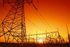 In the evening, the outline of substation Stock Image