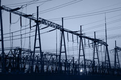 In the evening, the outline of substation Stock Photography