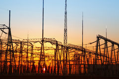 In the evening, the outline of substation Stock Photos