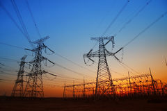 In the evening, the outline of substation Royalty Free Stock Photography