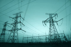 In the evening, the outline of substation Royalty Free Stock Image