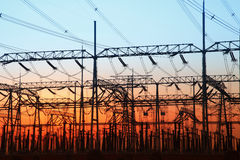 In the evening, the outline of substation Royalty Free Stock Photo