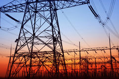 In the evening, the outline of substation Stock Photo