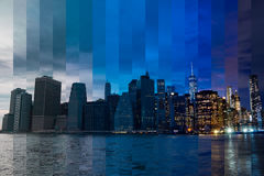 Evening over Manhattan. Fantastic Collage Royalty Free Stock Images