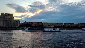 Evening over the Moscow River. Embankment of Gorky Park. stock footage