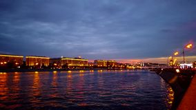 Evening over the Moscow River. Embankment of Gorky Park. stock video