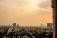 Evening over Noida delhi buildings Royalty Free Stock Photography