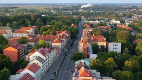 Evening over the Old Town. Aerial view of Klaipeda city stock video