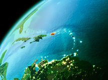 Puerto Rico from space in evening. Evening over Puerto Rico as seen from space on planet Earth. 3D illustration. Elements of this image furnished by NASA Stock Image