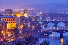 Free Evening Over River Vltava Near Charles Bridge In Prague Stock Photography - 115529492