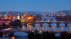 Evening over river Vltava near Charles bridge in Prague Royalty Free Stock Photos