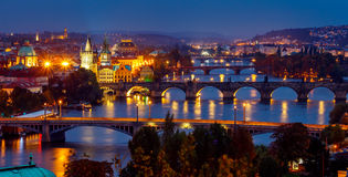 Evening over river Vltava near Charles bridge in Prague Stock Photos