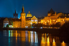 Evening over river Vltava near Charles bridge in Prague Royalty Free Stock Image