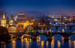 Evening over river Vltava near Charles bridge in Prague Royalty Free Stock Image