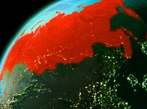 Russia from space in evening. Evening over Russia as seen from space on planet Earth. 3D illustration. Elements of this image furnished by NASA Stock Photography