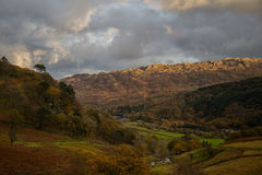 Evening over Snowdonia. Fields and forrests Royalty Free Stock Photo