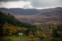Evening over Snowdonia. Lonely house in the distance Royalty Free Stock Photos