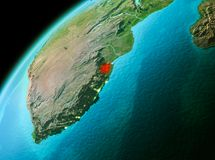 Swaziland from space in evening. Evening over Swaziland as seen from space on planet Earth. 3D illustration. Elements of this image furnished by NASA Royalty Free Stock Photo