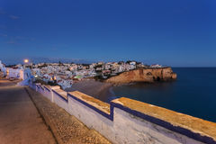 Evening over the village of Carvoeiro. Royalty Free Stock Images