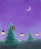 Evening and owl Stock Photos