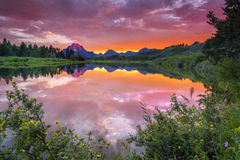 Evening at Oxbow Bend Stock Photo