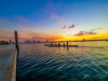 Evening paddle stock image