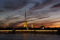 Evening paint of St. Petersburg. Peter and Paul fortress Royalty Free Stock Photo
