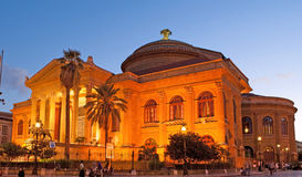 The evening in Palermo. PALERMO, ITALY - OCTOBER 2, 2012: The  evening view of Teatro Massimo - Opera and Ballet Theater in Verdi Square, on October 2 in Palermo Stock Photos