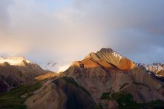 Evening in Pamir mountains. Evening. A decline in mountains of Pamir in July day Stock Photography