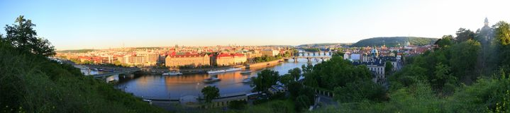 Evening panoram of Prague Stock Photography