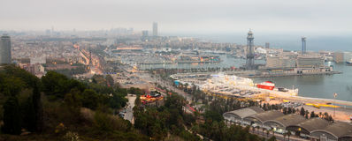Evening panorama of Barcelona. Evening panorama of the city of Barcelona Spain, From the mountain of Montjiuc stock images