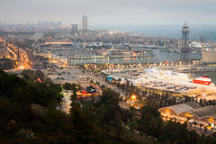 Evening panorama of Barcelona. Evening panorama of the city of Barcelona Spain, From the mountain of Montjiuc stock image