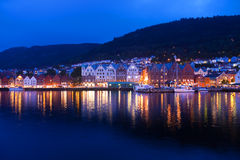 Evening panorama of Bergen, Norway Stock Photography