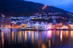 Evening panorama of Bergen, Norway Stock Images