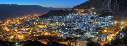 Evening panorama of Chefchaouen, Morocco Stock Photography