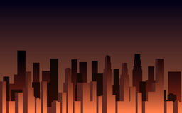 Evening panorama of the city. Skyscrapers at sunset. City landscape. Vector. Illustration Stock Photo