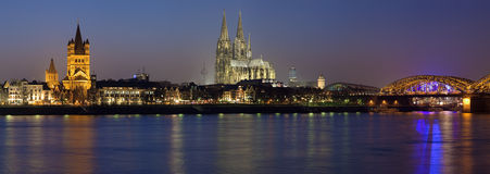 Evening panorama of Cologne, Germany royalty free stock photography