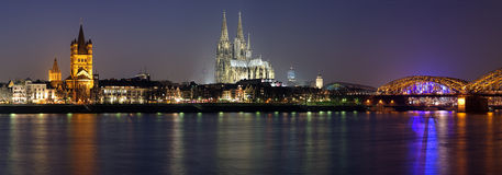 Evening panorama of Cologne from the Rhine river Royalty Free Stock Images