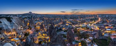 Evening panorama of Goreme, Turkey, Cappadocia royalty free stock images