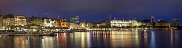 Evening panorama of Hamburg from Alster lake Stock Photo