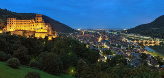 Evening panorama of Heidelberg, Germany Royalty Free Stock Images