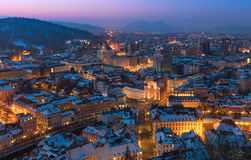 Evening Panorama of Ljubljana, Slovenia Royalty Free Stock Image