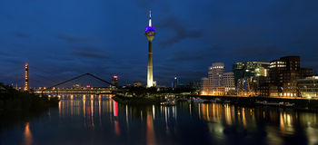 Evening panorama of the Media Harbor in Dusseldorf Stock Image