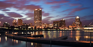 Evening Panorama of Milwaukee Stock Images